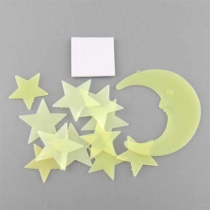 1 ชุดเรืองแสงในDark Luminousการ์ตูนMoon Star Nurseryห้องเด็กตกแต่งบ้านวอลล์เปเปอร์สติ๊กเกอร์ติดผนังสำหรับห้องพักเด็กdecal