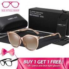 ef66348587 2019 nuevo de lujo HD polarizado gafas de sol de las mujeres de moda ronda  Vintage diseño de la marca de ojo de gato mujer gafas.