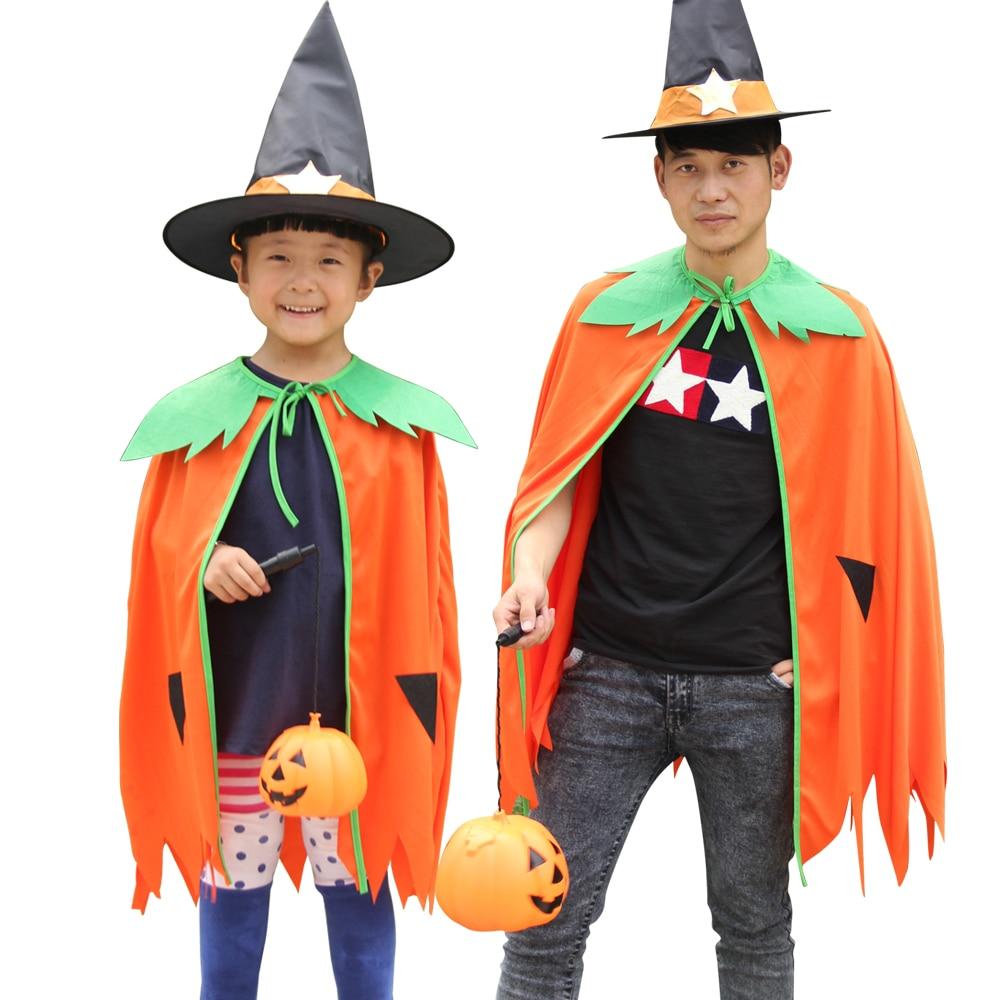 Hot!! 2018 New Pumpkin Cloak Halloween Fancy Dress Party Adults Kids Pumpkin costume Cosplay Costume Outfits Dress Up