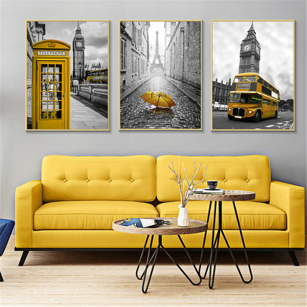 US $2.69 10% OFF Nordic Posters and Prints Yellow Telephone Booth Bus Black  White Wall Art London Pairs Wall Pictures for Living Room Decoration-in ...