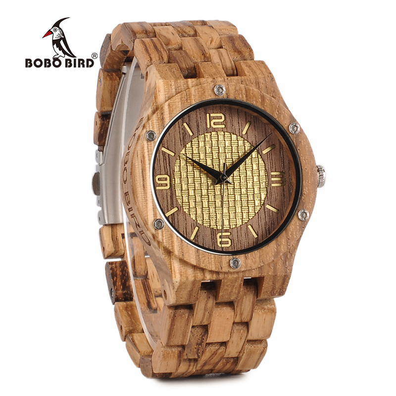 BOBO BIRD Luxury Brand Wood Watch for Men Gold Scale Dialface with Wood Band relogio masculino J-Q01 2017 luxury watch bobo bird wood watches for men wooden band wristwatch with bamboo box relogio masculino b n07