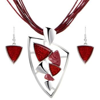 Leather Chain Enamel Gem Jewelry Set 4