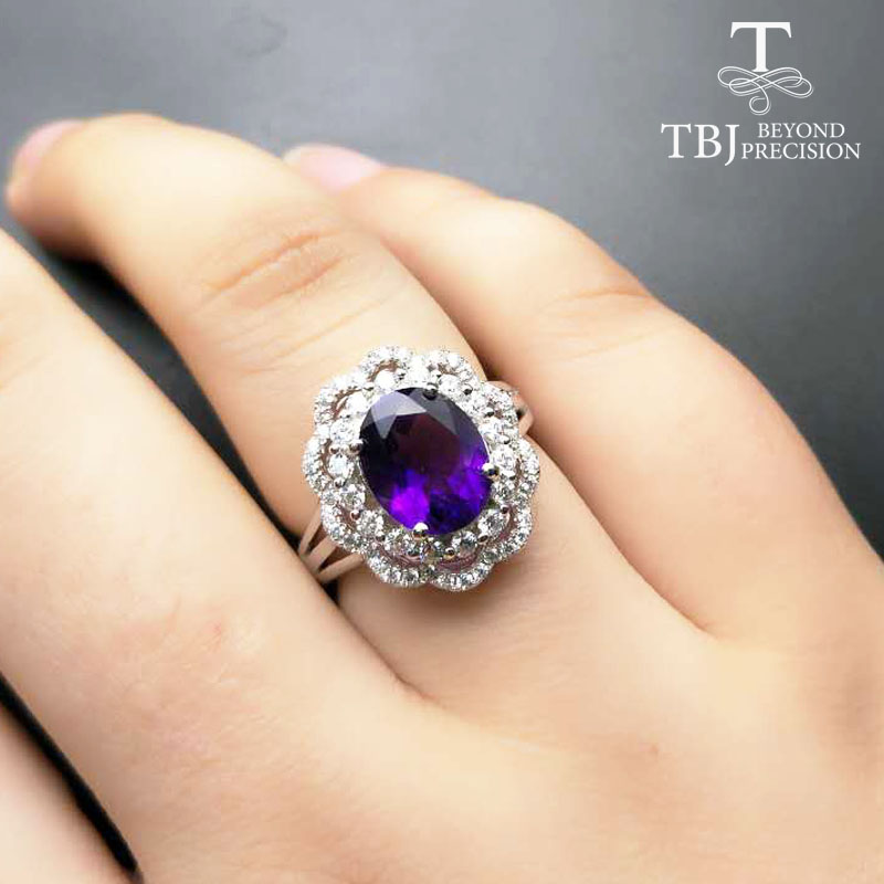 TBJ,clearance sale,natural amethyst ov8*10 gemstone ring for girls in 925 sterling silver with gift box , nice flower shape ring
