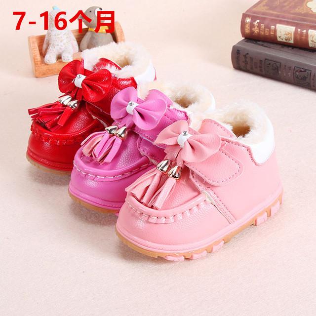 Año nuevo 0-1-2 años chaussure pour niña bebé del niño del caminante zapatos planos Princesa arco de cuero de imitación suave suela de goma abajo