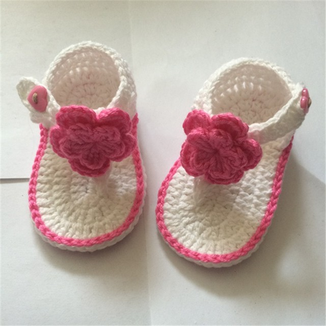 Qyflyxue Free Shipping Crochet Baby Shoes Baby Girl White Flowers