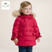 DB2745 dave bella winter infant coat baby girls red down padded coat girls white duck down feather coat girls coat jacket