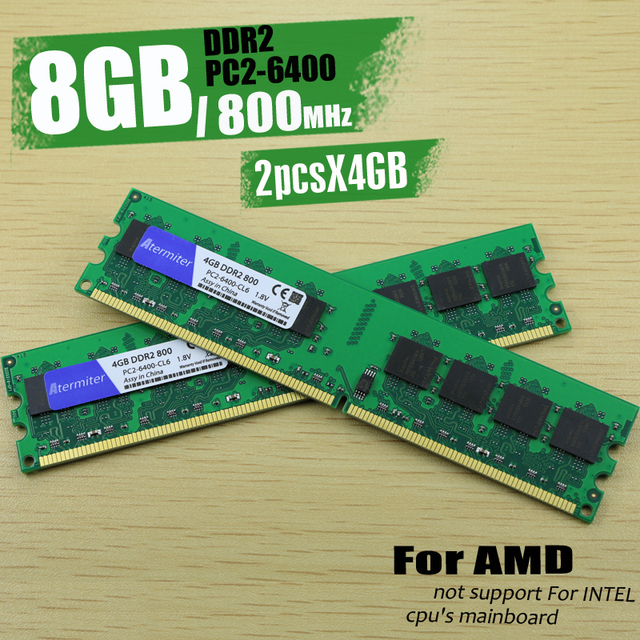 New 8GB (2pcs4GB) DDR2 PC2-6400 800MHz For Desktop PC DIMM Memory RAM 240 pins For AMD System High Compatible