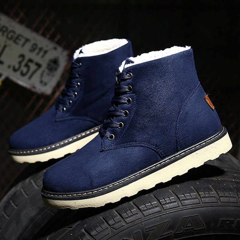 Winter Men Snow Boots with Fur 17 Men Warm Thick High Top Bottomed Nubuck Leather Flats Shoes Male Lace-Up Fashion Ankle Boots 53