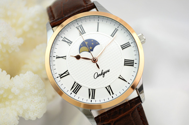 Onlyou Ladies Watch Quartz Analog Leather Strap Rose Gold Alloy Case Hardlex White Dial Gift for Girls Relogio Feminino 81037