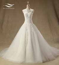 Solovedress Appliques O-Neck Tulle Lace Wedding dress Cap Sleeveless A-Line Lace Dress Vestido De Noiva Bridal Gowns HM-W201