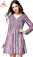 L XL XXL 3XL 4XL 5XL plus size biurowe nowy jesień 2017 szyfonowa sukienka kobiety z długim rękawem plus size czerwone paski v neck elegancki pani