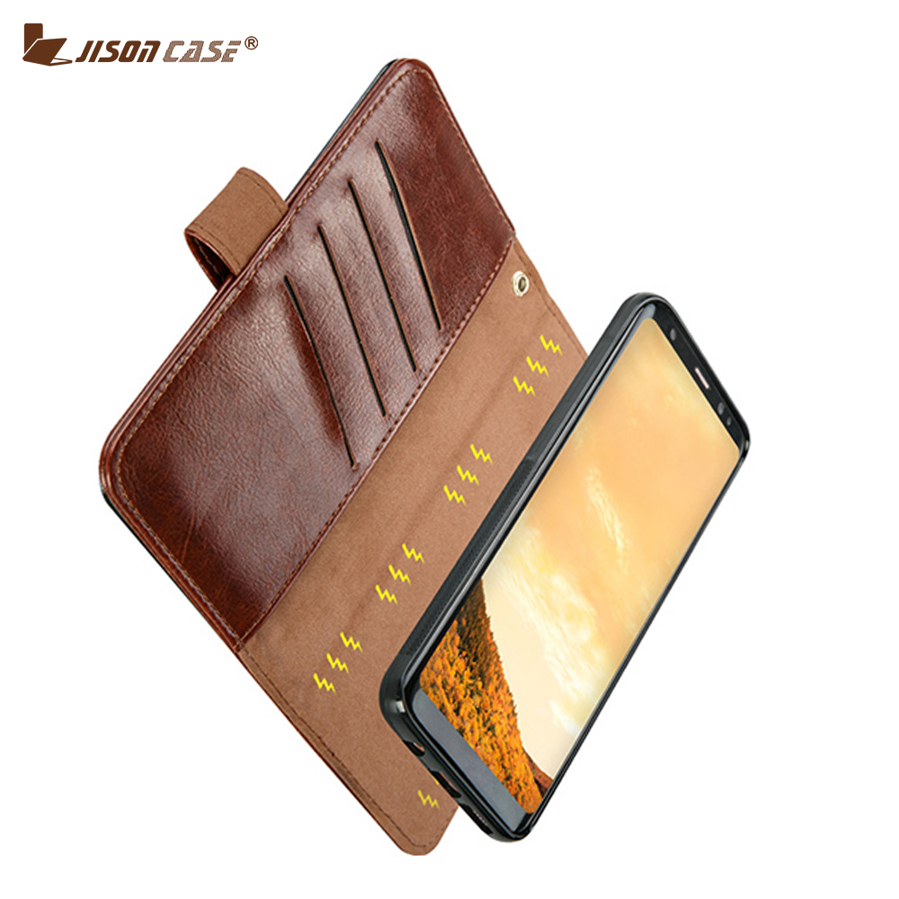 imágenes para Jisoncase Caso de Cuero de LA PU para Samsung Galaxy S8 Más Imán Cubierta de la Caja de La Carpeta Inteligente, para Samsung S8 Más Caso, tarjeta de Bolsillo Con Monedas