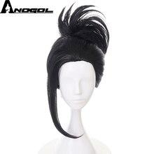 Anogol My Hero Academia Momo Yaoyorozu krótki czarny kucyk peruki peruka syntetyczna Cosplay na impreza przebierana Halloween karnawał