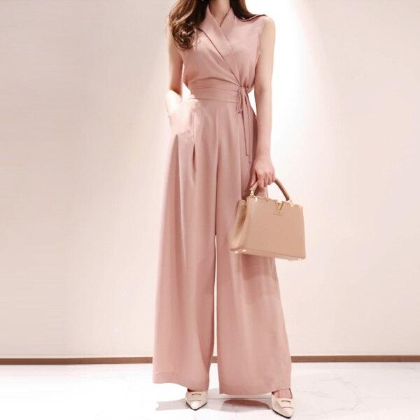 2019 Summer Women Fashion Elegant Office Lady Workwear Formal Party Romper Side Wide Leg   Jumpsuit