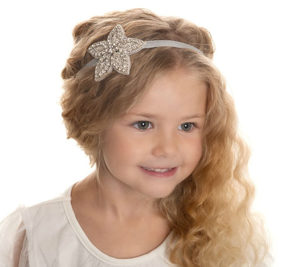 flower girls headband vintage rhinestone headband christening headband girl hair accessories bridal wedding headband