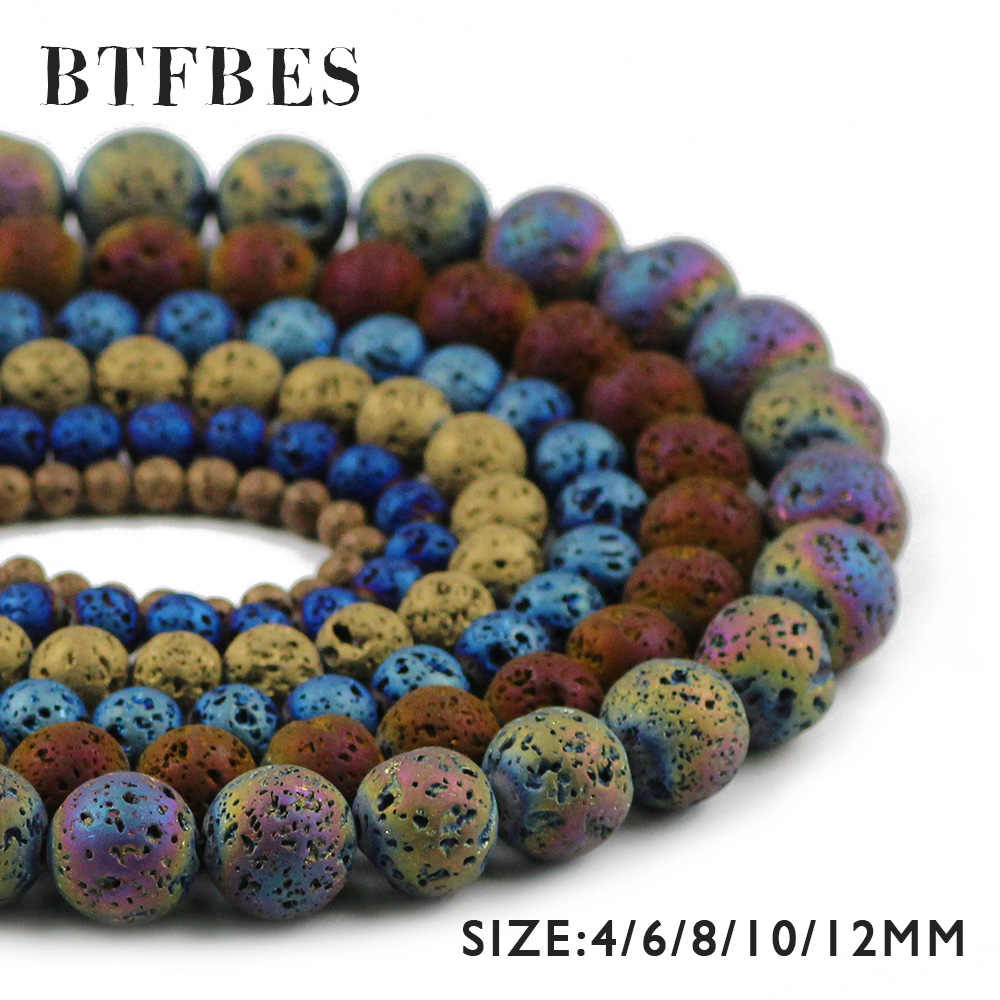 BTFBES Plating Multicolor Optional Lava Beads 4 6 8 10 12mm Volcanic Rock Natural Stone Loose beads DIY Jewelry Bracelet Making