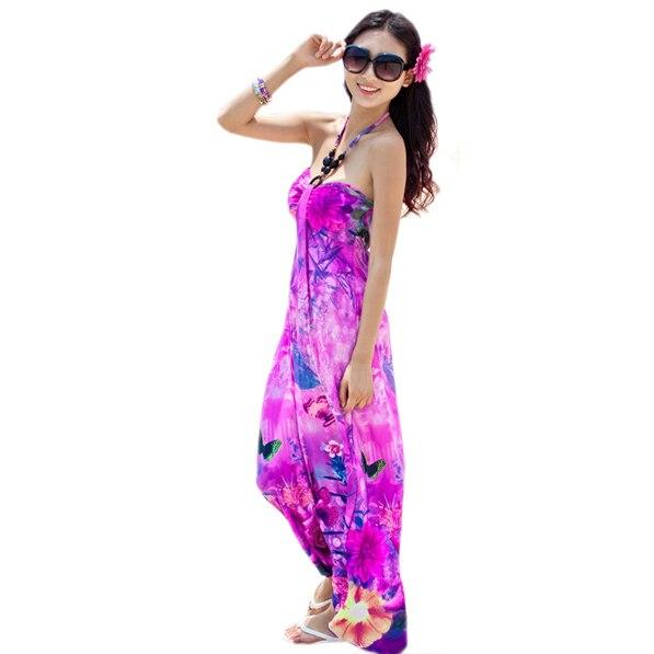 New 2016 Fashion Womens Boho Dress Y Ice Silk Bohemian Maxi Fl Print Hang Neck Halter Hawaiian Long Beachwear In Dresses From Women S