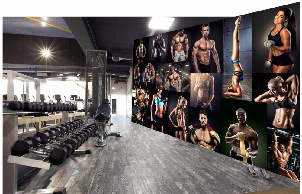 US $14 21 49% OFF Custom mural 3d wallpaper Bodybuilding boxing gym poster  bar background wall painting 3d wall murals wallpaper for wall 3 d-in
