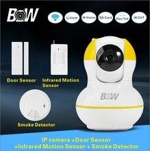P2p 720 p hd cámara ip sistema de seguridad cctv + puerta + sensor de infrarrojos motion sensor + detector de humo alarma baby monitor dispositivo bw12y
