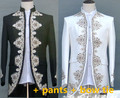 male wedding groom prom suit coats long jacket white tuexdo Trench party dancer singer show nightclub magic Outdoors Slim wear
