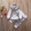 Floral Newborn Baby Girls Clothes Stripe Hooded Tops Pants 2Pcs Outfits Set AU