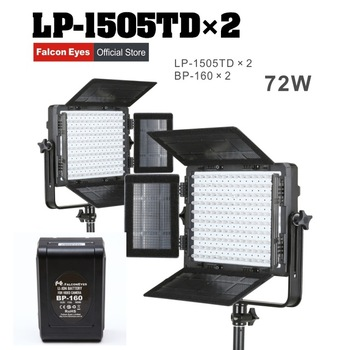 Falcon Eyes 2XLot 75W LED Panel Photography Video Light Panel Dimmable LED Studio light LP-1505TD with 2XLot battery BP-160 CD50