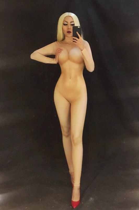 Nude Skinny Bodysuit Sexy Leggings Costume One-piece Dance Performance Wear Female Singer Stage Big Stretch Jumpsuit