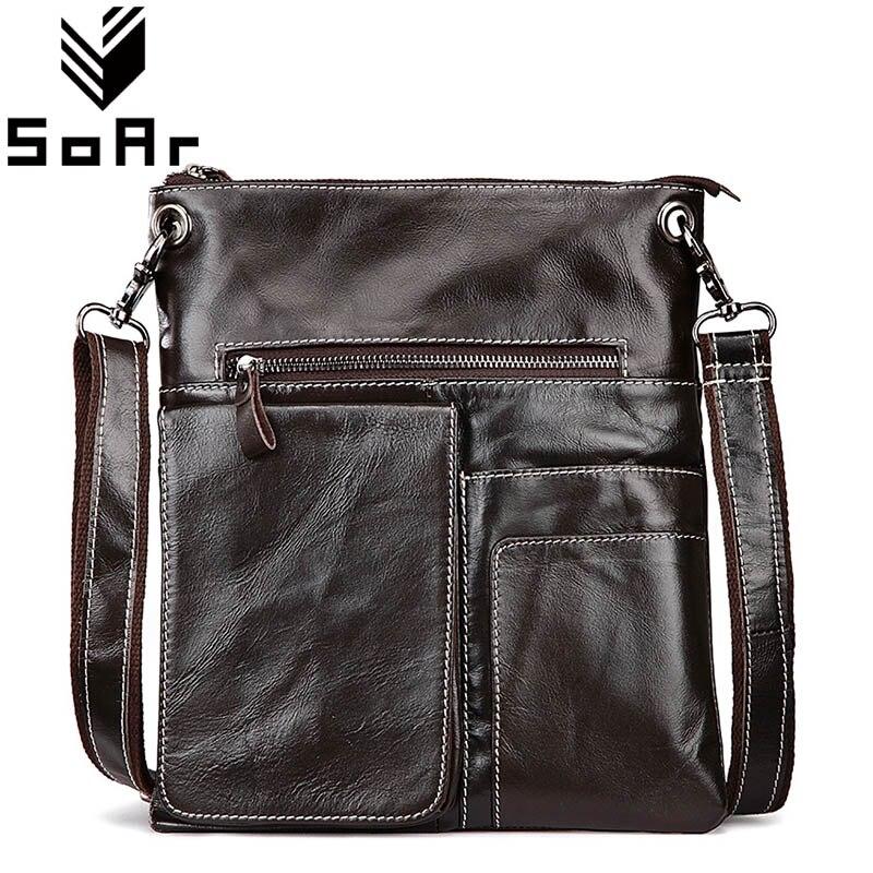 SoAr Man Bag Messenger Briefcase Genuine Leather Cowhide Men Shoulder Bags New Designer Handbags Male Travel Bags Vintage Style