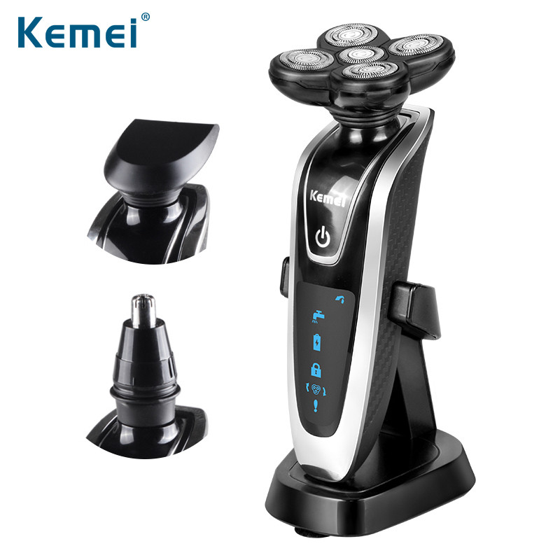 Kemei 3 in 1 Men Electric Shaver Replaceable Blade Heads Razor Rechargeable Epilator Washable 5D Floating Head EU Plug KM-5886 kemei 3 in 1 rechargeable electric shaver replaceable 5 blade washable electric shaving razor for men face care floating heads