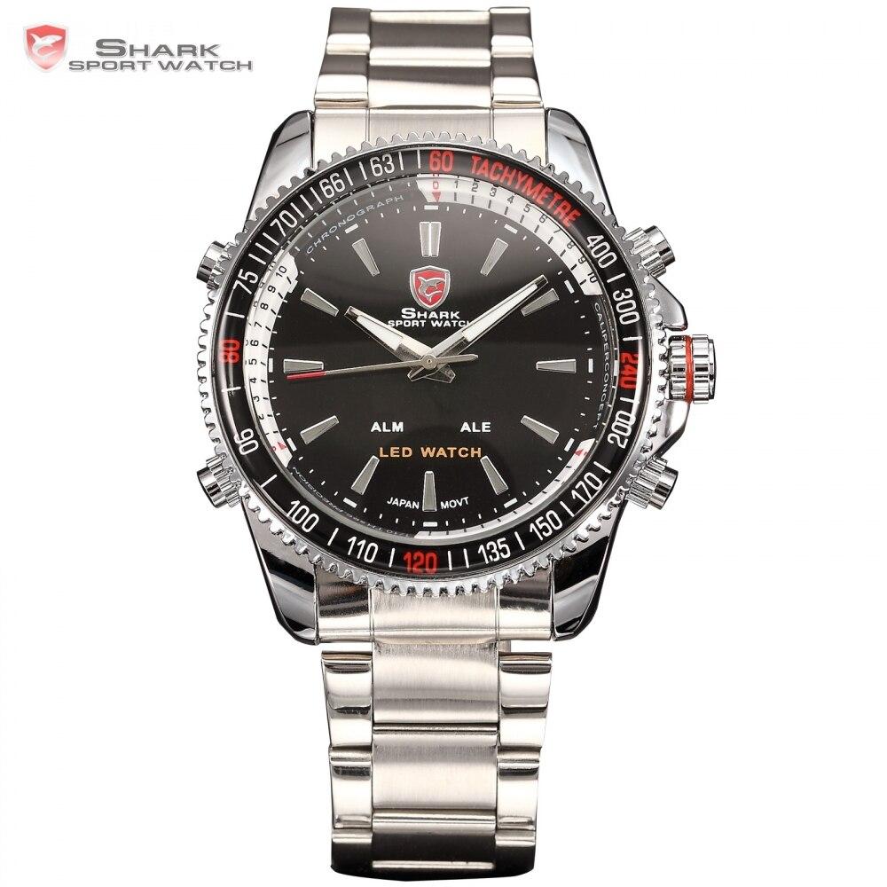 f7f33246007 Display LED Auto Data Alarme Prata Tubarão Preto de Aço Inoxidável relógio  de Pulso Militar Sport Watch Men Quartz Relogio Masculino SH003 Loja Online  ...