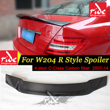 For Mercedes Benz W204 Spoiler R Style Sedan C Class C180 C200 C250 Carbon Fiber Rear Trunk Wing 4-doors 2007-2014