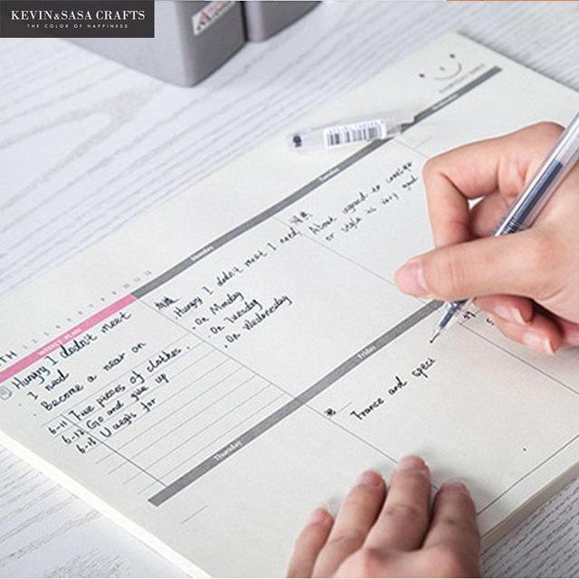A4 Notebook Planejador Papelaria Escolar Escritório Planejador Semanal 60 Páginas Internas Dia Planejador Papelaria Livro Adesivo