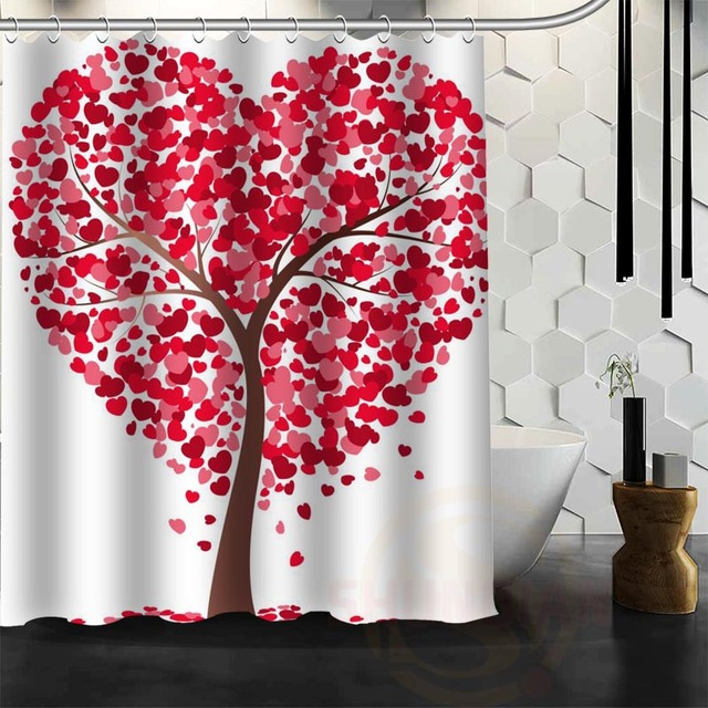ShunQian Best Nice Custom Heart Tree Shower Curtain Bath Waterproof Fabric Bathroom MORE