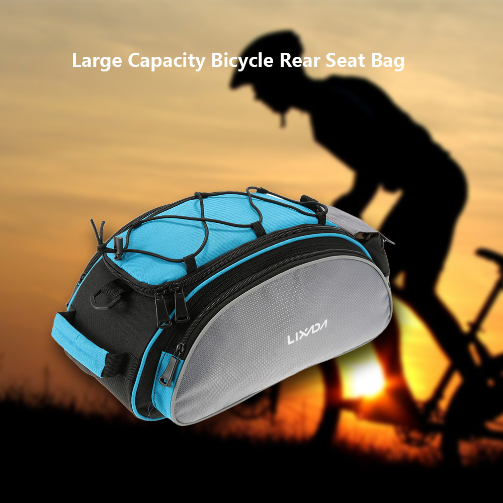 Lixada 13L Multifunctional Bicycle Rear Seat Bag Cycling Bike Rack Seat Bag Rear Trunk Pannier Backseat Bag Handbag Shoulder Bag