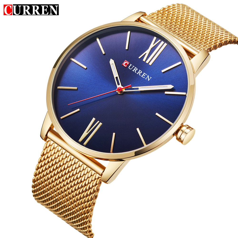 CURREN Top Brand Mens Watches Luxury Quartz Casual Watch Men Stainless Steel Mesh Strap Ultra Thin Dial Clock relogio masculino mcykcy fashion top luxury brand watches men quartz watch stainless steel strap ultra thin clock relogio masculino 2017 drop 20