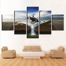 Canvas Wall Art HD Prints Modular Pictures 5 Pieces Magic Book Animal Killer Whale Painting Home Decor Abstract Poster Framework