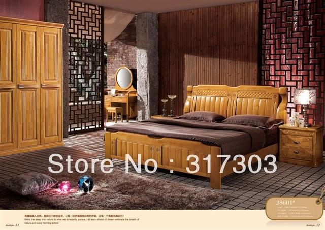 Fábrica venta al por mayor de madera de roble cama doble, diseño moderno, madera maciza muebles de dormitorio cama de pie H8601