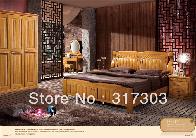 Factory Wholesale Solid Oak Wood Double Bed Modern Design Bedroom Furniture Solid Wood Bed Stand H8601