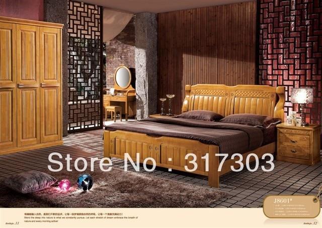 Usine gros chêne massif bois lit double, Design moderne, Chambre ...