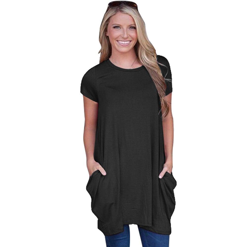 Летние Для женщин Свободные повседневные платья одноцветное 3 цвета короткий рукав с круглым вырезом туника футболка Платья с карманами TB ... ...
