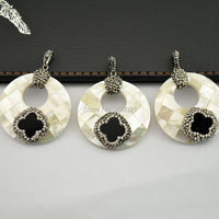 wholesale ~ 8pcs Round Shape White Shell Pave Rhinestone Crystal Charms Pendants For Necklace Jewelry Finding