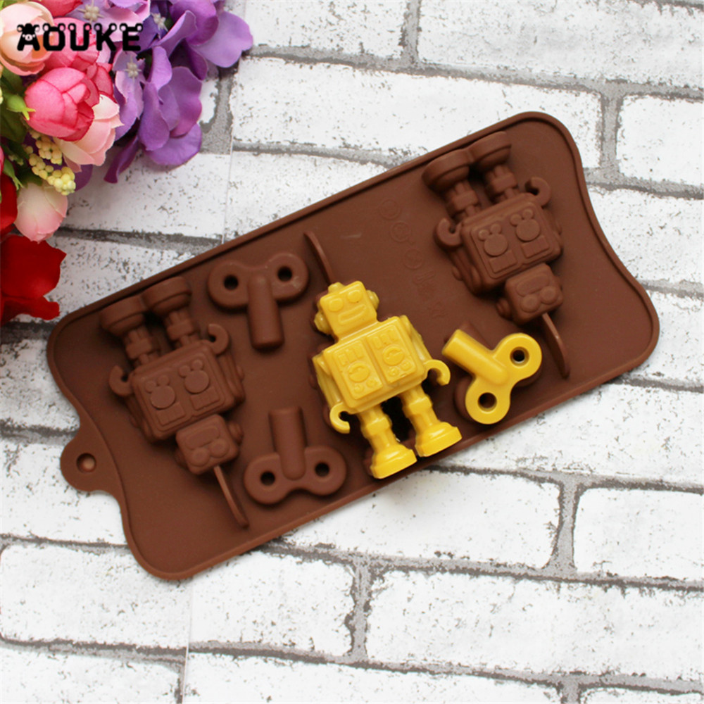 3D Robot & Parts Shaped Silicone Chocolate Mold Fondant Cake Molds Candy Pastry Biscuits Mould Cake Decoration DIY Baking Tools