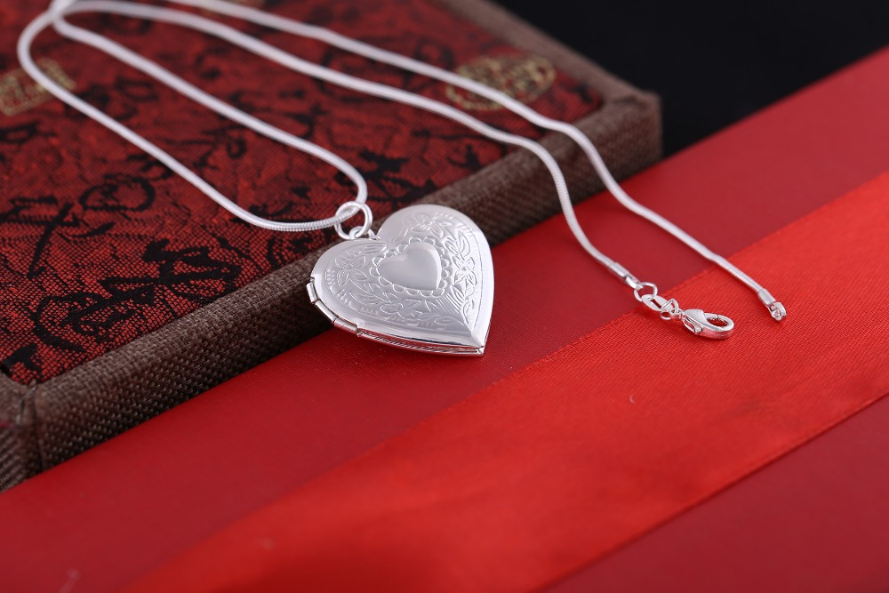 Silver Plated Romantic snake chain charm double heart frame pendant ...