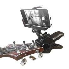 Gitar mesnetli cep telefonu kelepçe sabitleme kıskacı akıllı telefonlar ve Gopro aksiyon kameraları yakın ev kayıt