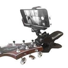 스마트 폰 및 Gopro 액션 카메라 용 기타 헤드 스톡 핸드폰 클램프 클립 마운트 홈 레코딩 닫기