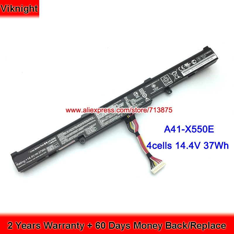 Genuine 14.4V 37Wh A41-X550E Battery for Asus X751LD A41-X550E A450J X450 X450E F450JF X450J 0B110-00220100 laptopGenuine 14.4V 37Wh A41-X550E Battery for Asus X751LD A41-X550E A450J X450 X450E F450JF X450J 0B110-00220100 laptop