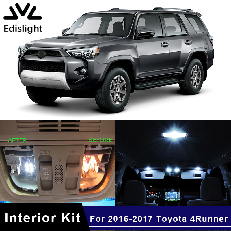 Edislight 14Pcs White Ice Blue Canbus LED Lamp Car Bulbs Interior Package Kit For 2016-2017 <font><b>Toyota</b></font> <font><b>4Runner</b></font> Map Dome Door Light image