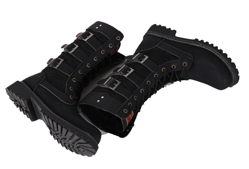 Army Boots Men High Military Combat Boots Metal Buckle Punk Mid Calf Male Motorcycle Boots Lace Up Men's Shoes Rock