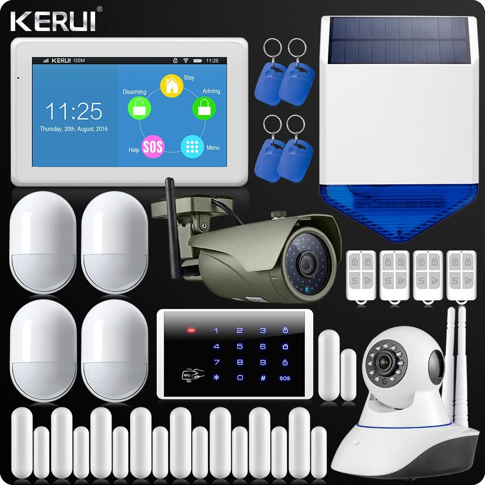 KERUI Touch-Screen 7 Inch TFT Color Display WIFI GSM Alarm System Home Alarm Security Dual Antenna Wifi IP Camera Keypad Rfid