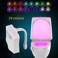 Actualizado 16 colores Sensor de movimiento LED Luz de inodoro movimiento activado noche luces baño Baño tazón LED lámpara
